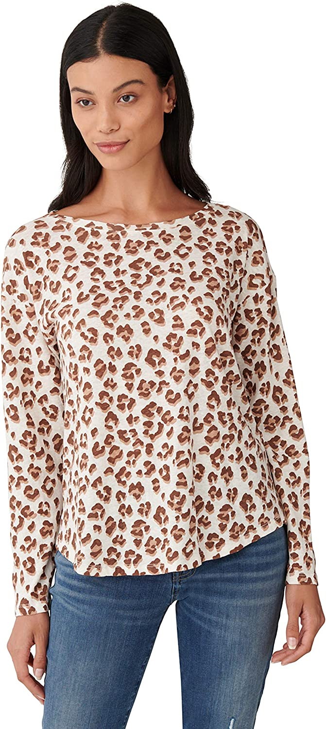 Lucky Brand Women's Long Shipping included Sleeve Printed Special price for a limited time Tee Neck Round