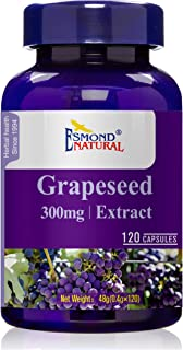 (5 Count, 25% Off) Esmond Natural: Grapeseed Extract (Helps Maintain Antioxidant Health), Made in USA, FDA Facility, GMP, Natural Products Assn Certified-300mg, 600 Capsules