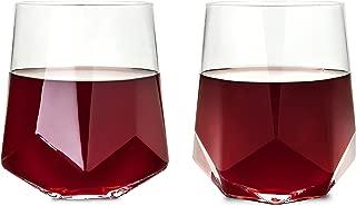 Viski 2214 Raye Faceted Crystal Wine Glass (Set of 2)