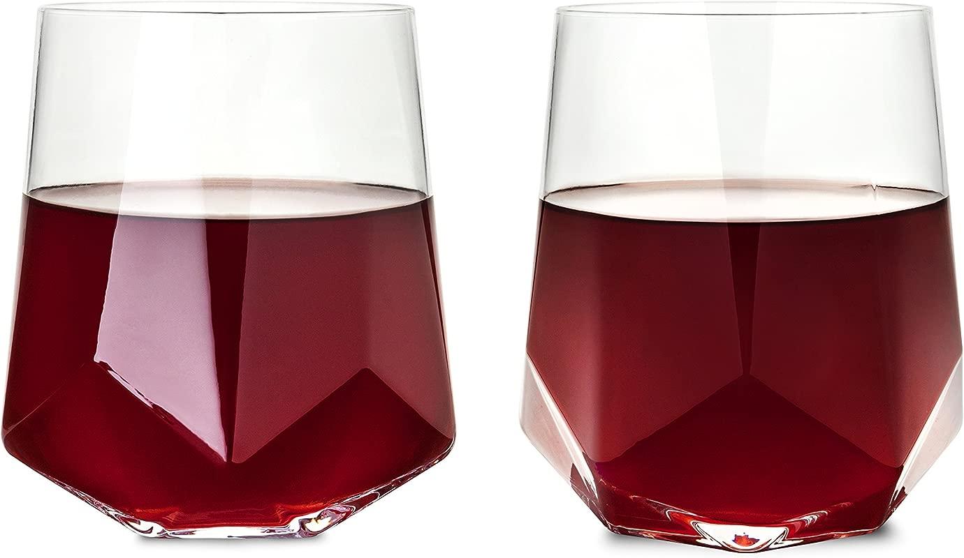 Viski 2214 Raye Faceted Crystal Wine Glass Set Of 2