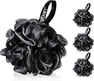 Yoget Charcoal Bath Loofah Sponge, 4 Pack Black 60G Large Shower Mesh Ball Soft Pouf Body Scrubber, Exfolia...
