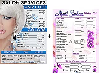 Clipper Int'l Posters Salon Poster | Price List for Beauty Salon and Nail Salon in A Combo | Already Laminated