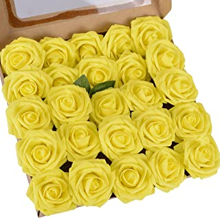 Umiss Roses Artificial Flowers Fake Flowers Wedding Decorations Set 25pcs Yellow Artificial Flora DIY Wedding Home Office Party Hotel Restaurant Patio Yard Decoration (25pcs Yellow)
