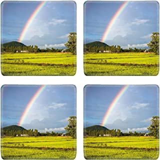 MSD Drink Coasters 4 Piece Set Image ID: 21236860 Rainbow over the rice field in countryside of Thailand