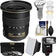 Nikon 12-24mm f/4 G DX AF-S ED-IF Zoom-Nikkor Lens with iTTL Flash + Soft Box + Diffuser Bouncer + 3 UV/CPL/ND8 Filters + Kit