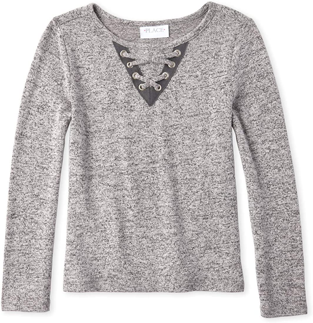 The Children's Place Girls' San Antonio Mall Long-awaited Big Solid Lace Sleeve Swe Front Long