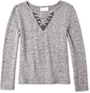 Girls' Big Solid Long Sleeve Lace Front Sweater