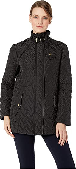 Essential Quilted Zip Front Jacket with Faux Leather Collar Belt and Piping Details