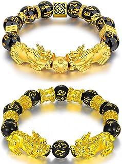 2pz Braccialetto Di Perle Feng Shui Cinese Braccialetto Di Perle Di Amuleto Nero Feng Shui Bracelet Braccialetti Ossidiana...