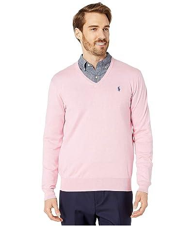 Polo Ralph Lauren Cotton V-Neck Sweater (Spring Pink Heather) Men