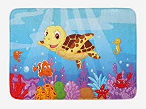 Ambesonne Turtle Bath Mat, Funny Cartoon Style Underwater Sea Animals Baby Turtle and Fish Pattern, Plush Bathroom Decor Mat with Non Slip Backing, 29.5
