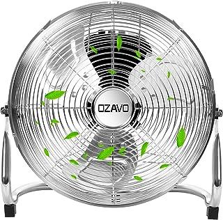 OZAVO Ventilador de Suelo 40CM, Power Fan, Metálico Máquina de Viento Ventilador Sobremesa, Circulador de Aire, 3 Niveles de Potencia, 45W, Inclinación de 100 Grados, 12 Pulgada