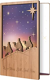 3 Wisemen Christmas Card: Real Bamboo Wood Greeting Card With Fun, Festive, And Colorful Christmas Design, Premium Handmade Wooden Xmas Card, Perfect Holiday Card For Season's Greetings