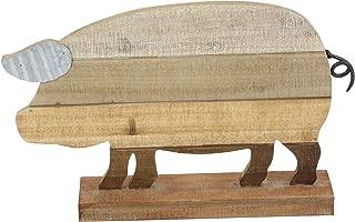 Deco 79 59453 Wood and Metal Pig Sculpture, Brown/Lightbrown/Darkbrown/White