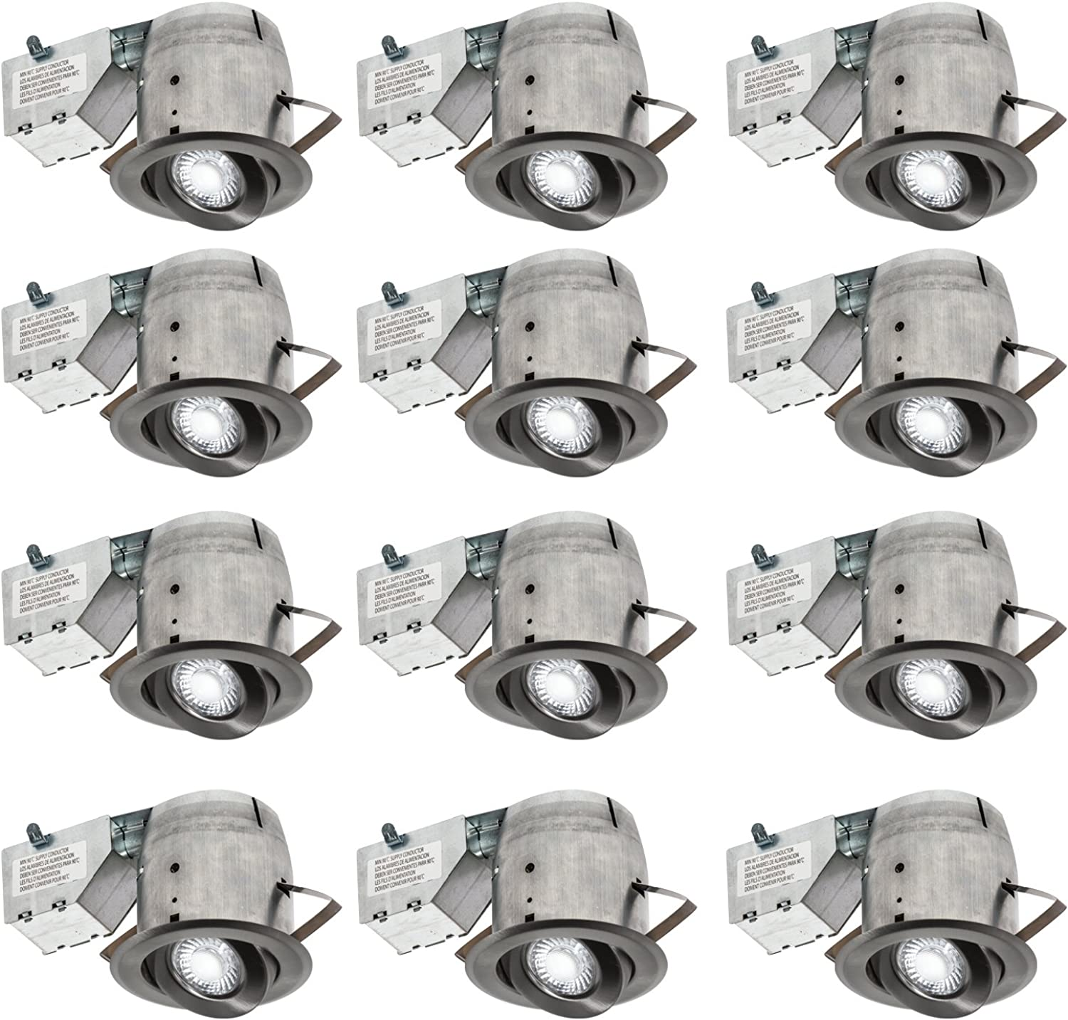 Nadair 4in LED Recessed Lighting Kit (x12) Swivel Spotlight Dimmable Downlight, 3000K Warm White GU10 550 Lumens Bulbs (50 Watts Equivalent) Included, 12-Pack Brushed Nickel color