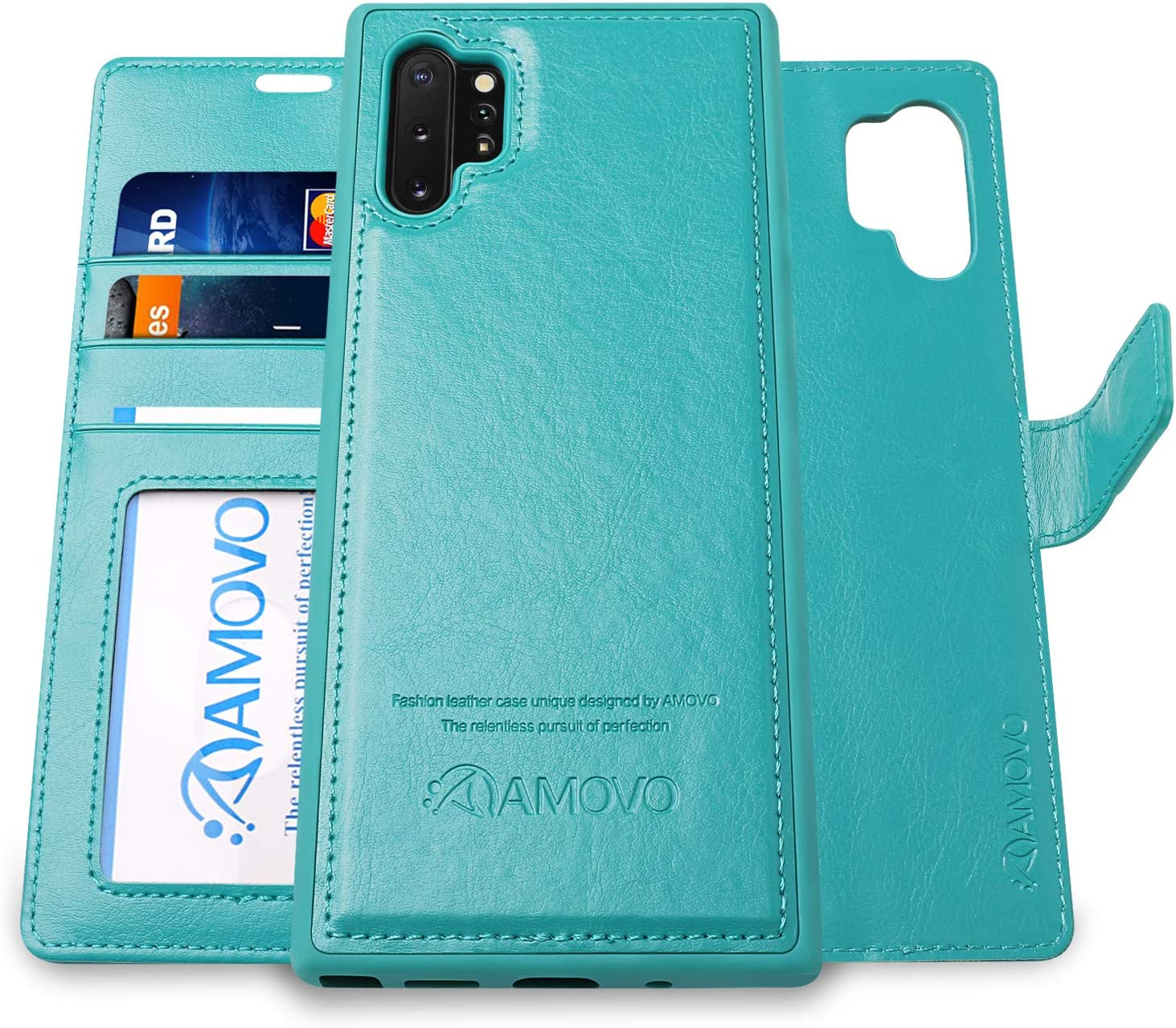 AMOVO Galaxy Note 10+ Wallet Case [2 in 1 Detachable] Vegan Leather Case for Samsung Galaxy Note 10 Plus (6.8'') [Wrist Strap] Note 10 Pro Flip Case with Box Package (Note10+ (6.8'') Aqua)