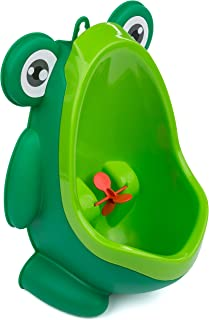 Potty Training Baby/Toddler Urinal with Aiming Target – Free-Standing and Wall-Mount Design – Green Frog