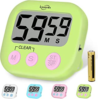 Kissarex Digital Kitchen Countdown Timer: Teachers Classroom Counter Large LCD Loud Magnetic Clip Simple Clock Mini Small ...