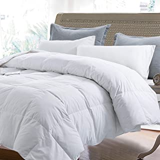 Yalamila Lightweight Down Comforter with Corner Tabs-All Season Quilted Duvet Insert Bedding-Goose Duck Down Feather Filling-White Stand Alone Comforter-Queen