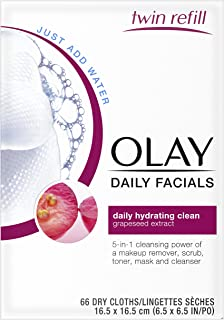 Olay Daily Facials, Daily Clean Makeup Removing Facial Wipes, 5-in-1 Water Activated Cloths, 66 count