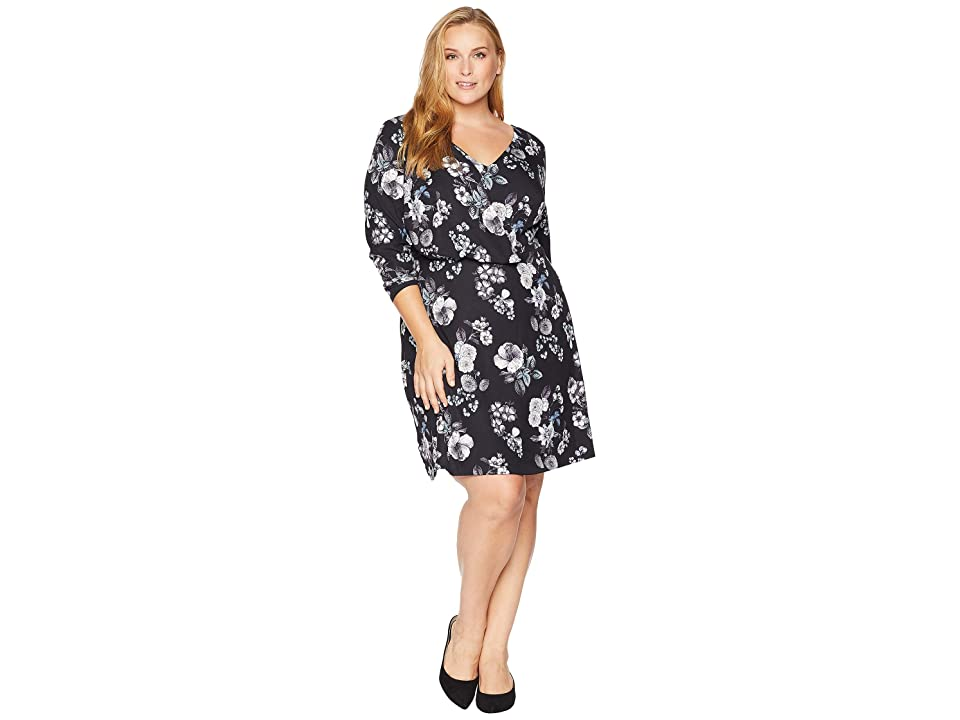 Adrianna Papell Plus Size Etch Flora A-Line Dress (Black Multi) Women