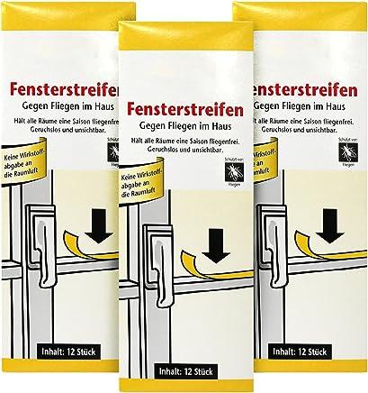 com-four® 36x Fliegenstreifen, Fliegen-Fensterstreifen, gegen Fliegen, Mücken etc. im Haus (036 Stück - Streifen)