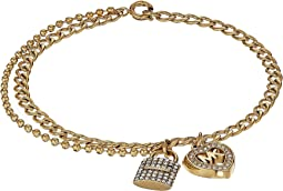 Love Is In The Air Pave Lock and Heart Double Strand Bracelet