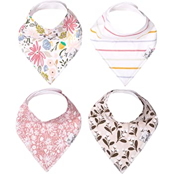 """Baby Bandana Drool Bibs for Drooling and Teething 4 Pack Gift Set for Girls """"Olive"""" by Copper Pearl"""