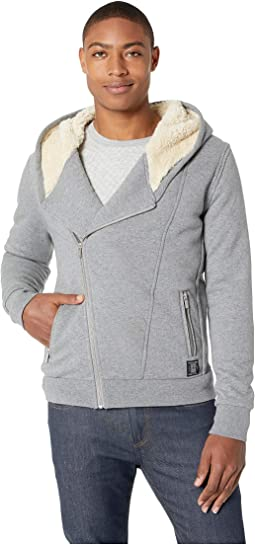 Hooded Sweatshirt in Biker Styling w/ Bonded Teddy Lining