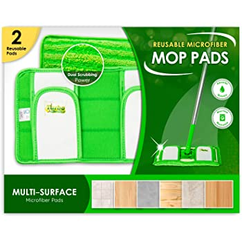Reusable Pads Compatible with Swiffer Sweeper Mops - Washable Microfiber Mop Pad Refills by Turbo - 12 Inch Floor Cleaning Mop Head Pads Work Wet and Dry - 2 Pack