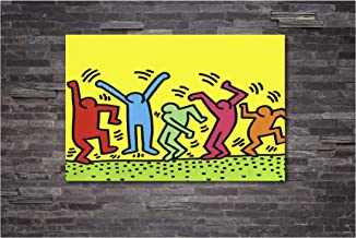 Keith Haring - The Dancers - Pop Art Canvas Wall Art Framed Print (24in x 36in Framed)
