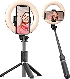 Selfie Ring Light with Tripod Stand and Phone Holder Artoful Selfie Stick with Wireless Remote and 3 Color Modes, 9 Adjust...