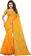 The Fashion Outlets Women's Cotton Silk Manipuri Saree with Blouse (Yellow)