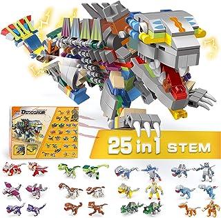 ROCSMAC Dinosaurs Toy Set, 25 in 1 Building Blocks DIY STEM Transform Building Bricks,630 PCS Creative Educational Blocks, for Kids Age 6 7 8 9 10 11.