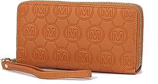Mia K. Collection Envelope Handbag for Women Wallet - PU Leather Wristlet Bag - Double Zipper Multi Pockets Clutch Purse