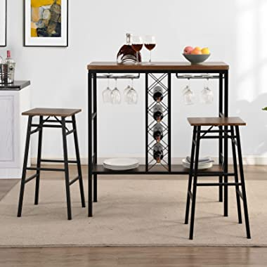 HOMYSHOPY Bar Table Set with 2 Chairs, Dining Table Set with 2 Stools, 3 Piece Kitchen Table with Wine Rack and Glass Holder,