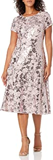 S.L. Fashions womens Sequin Fit and Flare Dress Special Occasion Dress