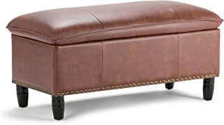 Simpli Home 3AXCOT-247-CG Emily 39 inch Wide Traditional Rectangle Storage Ottoman in Cognac Faux Leather