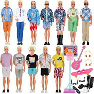 EuTengHao 44Pcs Doll Clothes and Accessories for 12 Inch Boy Dolls Include 27 Different Shirt Jeans Wear Trousers Pants fo...
