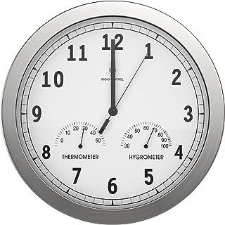 bonVIVO Horloge Murale Silencieuse - Pendule Murale Moderne Cuisine, Salon et Bureau en Aluminium avec Thermomètre et Hygr...