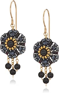 Miguel Ases Women's 3D Dahlia Triple Onyx Wrap Dangle Obsidian Rose Gold Drop Earrings