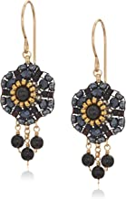 product image for Miguel Ases Women's 3D Dahlia Triple Onyx Wrap Dangle Obsidian Rose Gold Drop Earrings