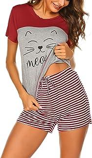 Ekouaer Women's Pajama Set Short Sleeve Sleepwear Nightwear Pjs Set Comfy Striped Pants with Short Tops S-XXL