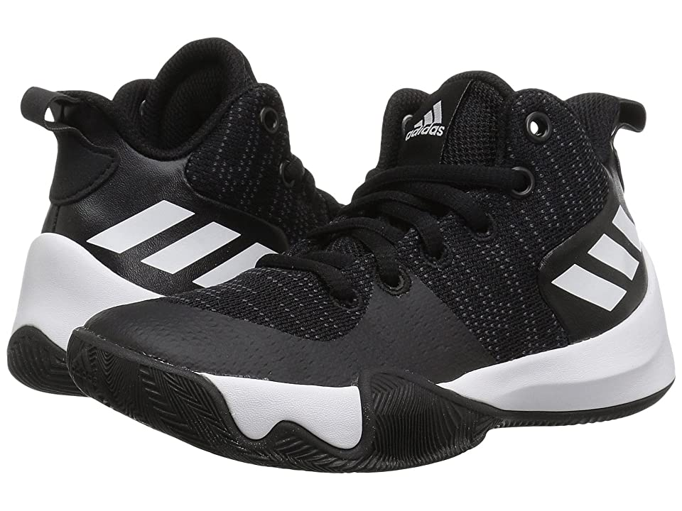 adidas Kids Explosive Flash Basketball (Little Kid/Big Kid) (Black/Carbon/White) Boys Shoes