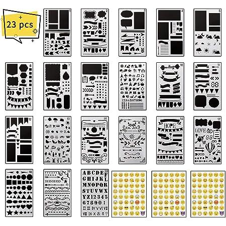 XCOZU Pochoir Scrapbooking Set, 20 Pièces Pochoirs Scrapbook et 3pcs Emoji Stickers, Réutilisable Plastique Alphabet et Voyage Accessoires, 4x7 inches Pochoir Journal