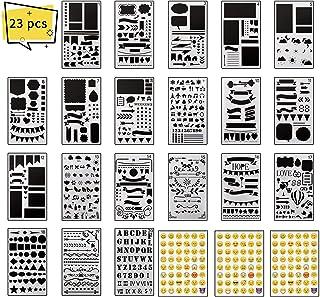 XCOZU Pochoir Scrapbooking Set, 20 Pièces Pochoirs Scrapbook et 3pcs Emoji Stickers, Réutilisable Plastique Alphabet et Vo...