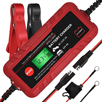 Adakiit 612V 4A Smart Battery ChargerMaintainer Fully Automatic 8 Stages Trickle Charger for Automotive Car Motorcycle Lawn Mower Marine Boat RV ATV