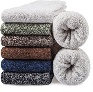 6 Pairs Mens Wool Socks - Thermal Cozy Warm Winter Socks for Men