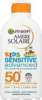 Garnier Ambre Solaire Kids Sensitive Sand Resistant Sun Cream SPF50+, High Sun Protection Kids Suncream Lotion SPF50+ 200 ml