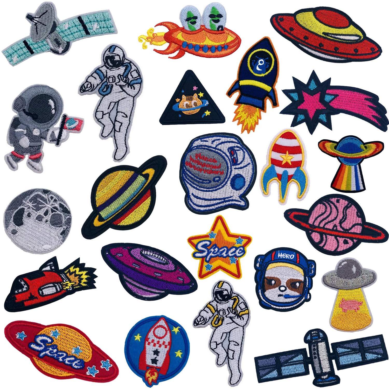 Ouinne 21 Piezas Parches Ropa Termoadhesivos, Patrón de Astronauta Pegatina de Parche Bordados Cosidos Costura de ApliquesDecoración DIY (Three): Amazon.es: Hogar